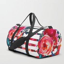 Bohemian pink orange blue black watercolor stripes floral Duffle Bag
