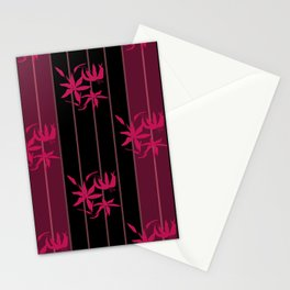 Striped floral maroon and black pattern with lillies Stationery Cards