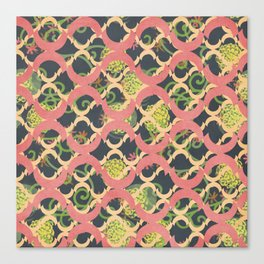 Garden Charm III: Funky Geometric with Flowers in Shabby Rose Pink on grey II Canvas Print
