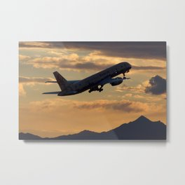 Boeing 757-200 sunset departure Metal Print