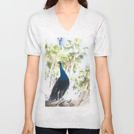 Fine Art Peacock Wildlife Animal Southern California Colored Print Unisex V-Neck