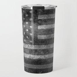 Black and White USA Flag in Grunge Travel Mug
