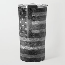 Black and White USA Flag in Grunge Travel Mug