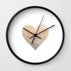GOLD HEART Wall Clock