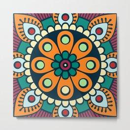 Mandala artwork, Colorful mandala flower No3 Metal Print