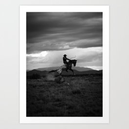 Black and White Cowboy Being Bucked Off Art Print