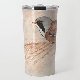 Bearded Reedling Watercolor Travel Mug