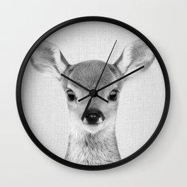 Baby Deer - Black & White Wall Clock