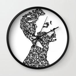 Kanji Calligraphy Art :man's face #4 Wall Clock