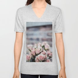 ROSES - PINK - PHOTOGRAPHY - FLOWERS Unisex V-Neck