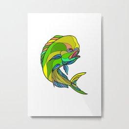Mahi-Mahi Dorado Dolphin Fish Drawing Metal Print