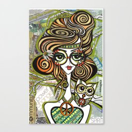 Positive Art and Girls with Owls Art Decor Collection: Sophie Canvas Print