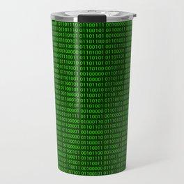 Binary numbers pattern in green Travel Mug