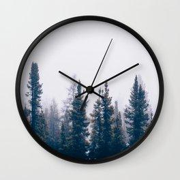 Minimalist Landscape Photo Pine Tree Silhouette Misty Forest Wall Clock