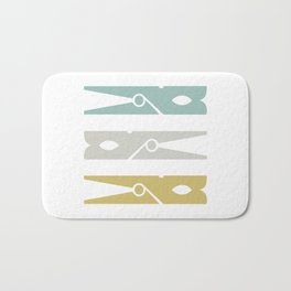 Turquoise and Gold Clothespins Bath Mat