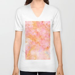 Rosé and Sunny Marble - pink, coral and orange Unisex V-Neck