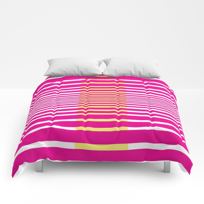 Illusions Abstract Pink & Yellow Comforters
