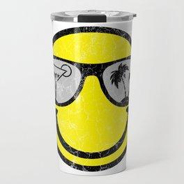 Happy Beach Face   Beach Designs   DopeyArt Travel Mug