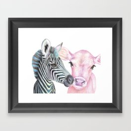 Pink Cow, Blue Zebra Framed Art Print