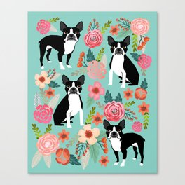 Floral Boston Terrier cute flowers spring bouquet love valentines day black and white mint dogs Canvas Print