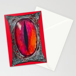 Reddish Silver Mystic Dragon Eye Jewel Stationery Cards