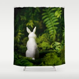 White Bunny with back turned Shower Curtain