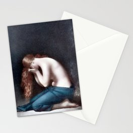 Madeleine Weeping (The Young Woman with long red hair) portrait painting by Jean-Jacques Henner   Stationery Cards