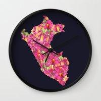 peru Wall Clocks featuring Peru by Ursula Rodgers