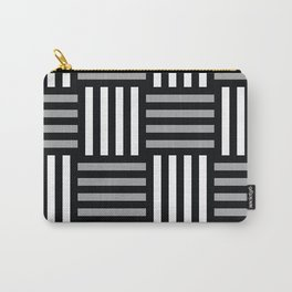 abstract stripy pattern in black, grey and white Carry-All Pouch