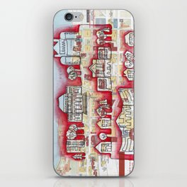 Badgers! University of WI, Madison Continuous Line Drawing on vintage map iPhone Skin