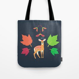 White-tailed Deer + Red Maple Tote Bag