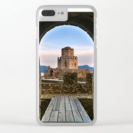 Entrance leading to impressive three-tiered fortified watchtower. Clear iPhone Case