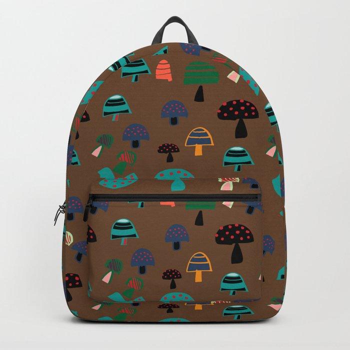 Cute Mushroom Brown Backpack