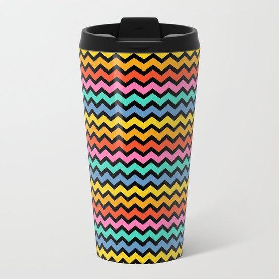 Happy Zigzag on Black Metal Travel Mug
