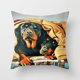 Mr and Mrs Rottweiler Throw Pillow