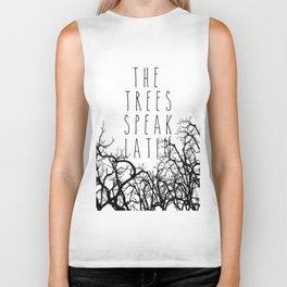 THE TREES SPEAK LATIN QUOTE BY MAGGIE STIEFVATER  Biker Tank