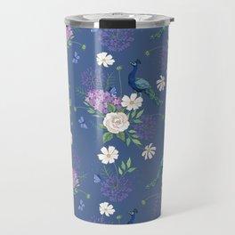 Peacocks Roses and Agapanthus Travel Mug