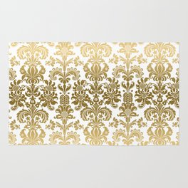 White & Gold Floral Damask Pattern Rug