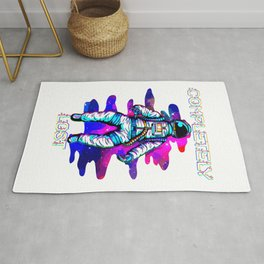 Completely Lost Astronaut Floating In Space Funny Rug