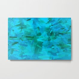 splash painting abstract texture in blue and green Metal Print