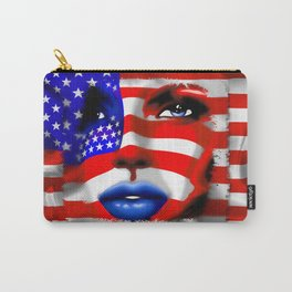 Usa Flag on Girl's Face Carry-All Pouch