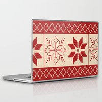 sweater Laptop & iPad Skins featuring Christmas Sweater by Minette Wasserman