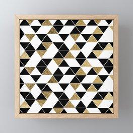 Modern Black, White, and Faux Gold Triangles Framed Mini Art Print