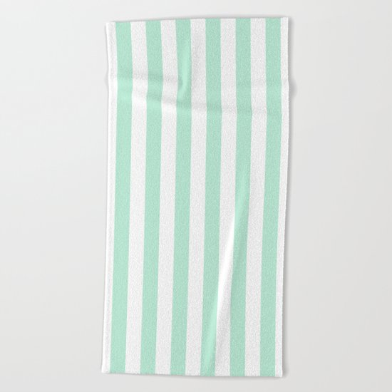 Mint green and White stripes-vertical Beach Towel