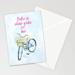 Take A Slow Ride With Me Bicycle With Flower Basket Stationery Cards