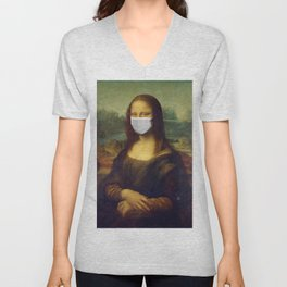 Mona Lisa with Respirator Mask Unisex V-Neck