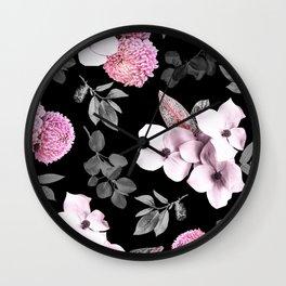 Night bloom - pink blush Wall Clock