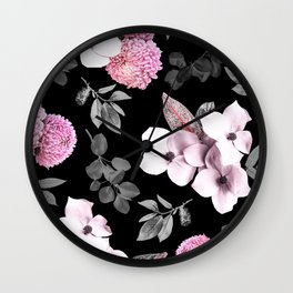 Night bloom - pink blush Wall Clock
