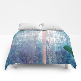 Metallic Face (Blue Version) Comforters