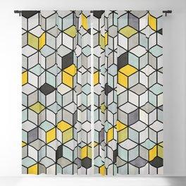 Colorful Concrete Cubes - Yellow, Blue, Grey Blackout Curtain